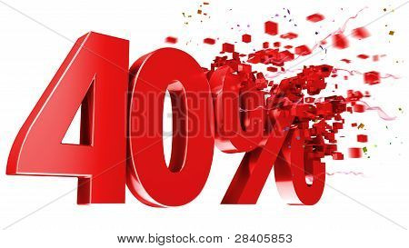 Explosive 40 Percent Off On White Background
