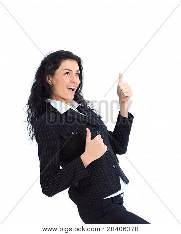 Winner woman - Casual young successful executive very excited isolated on white background
