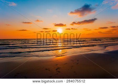 poster of Sunset. Beautiful Sunset Baltic Sea. Painting Sea Sunset. The Sea At Sunset. Amazing Sea Sunset. Sun