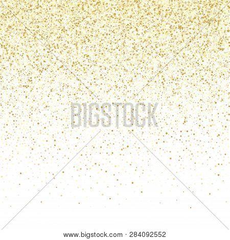 poster of Gold Sparkles Glitter Dust Metallic Confetti Vector Background. Stylish Golden Sparkling Background.