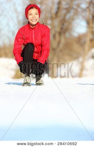 Winter Runner immer bereit mit Kopplung Schnürsenkel. schöne junge gemischte Abstammung asiatische / caucasian f