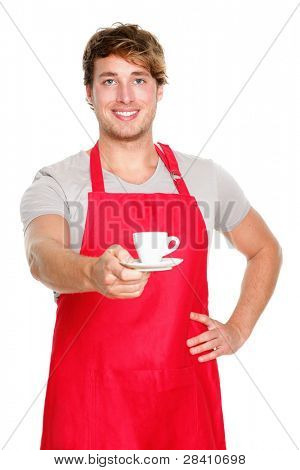 Barista / waiter man serving coffee wearing apron. Handsome young small coffee shop business owner isolated on white background.