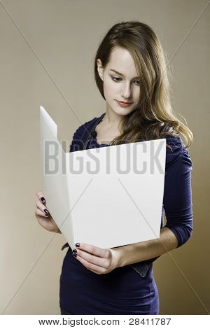 Young Brunette With Blank Folder.