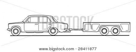 car with trailor on white background, vector illustration