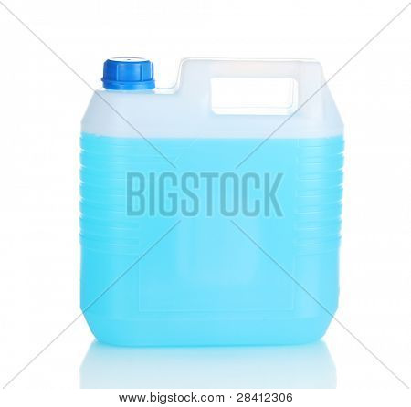 blue liquid in the canister isolated on white