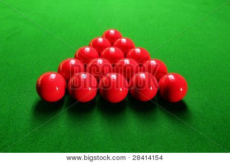 Snooker Balls Arranged In Traingular Shape