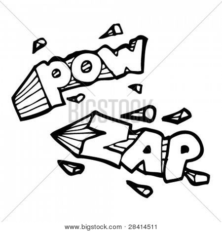 pow and zap comic book element