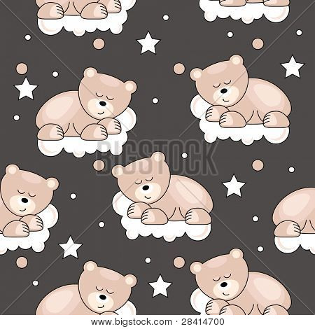 Seamless pattern with small bear sleeping on cloud. Raster version.