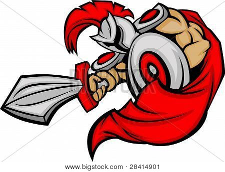 Cuerpo de la mascota de Trojan con espada y escudo Cartoon Vector Illustration
