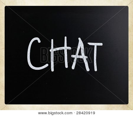 """The Word """"chat"""" Handwritten With White Chalk On A Blackboard"""