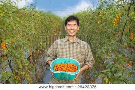 middle aged happy asian farmer