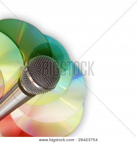 Music background with microphone and discs