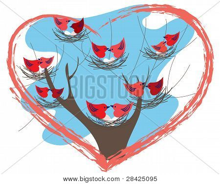 Bird Pairs On The Nests