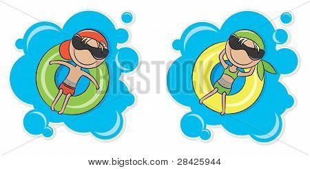 Girl And Boy On Inner Tube