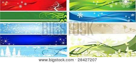 Floral and winter ornament for background