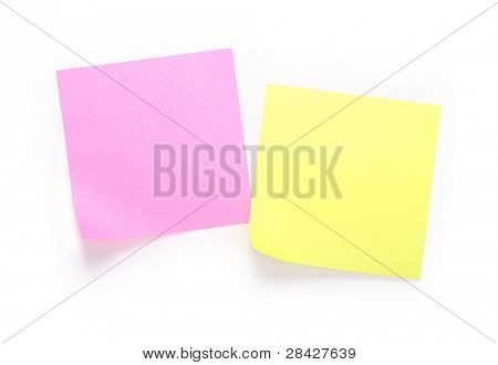 Yellow and pink note over white background