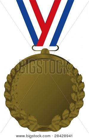 bronze medal with tricolor ribbon