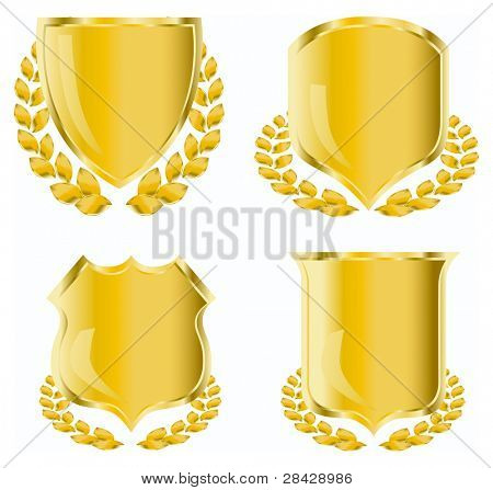 golden shield with laurel wreath