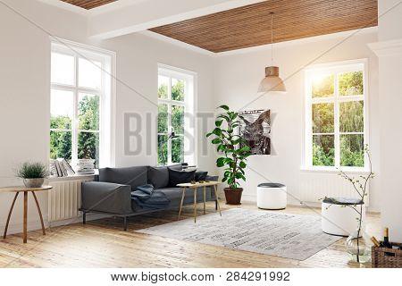 poster of modern scandinavian living room design. 3d concept rendering