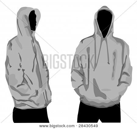Men's sweatshirt template with human body silhouette