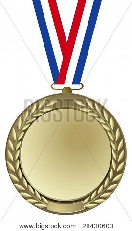 gold medal with tricolor ribbon on white background