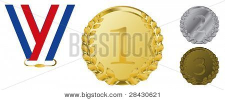 vector gold, silver and bronze award ribbons on white