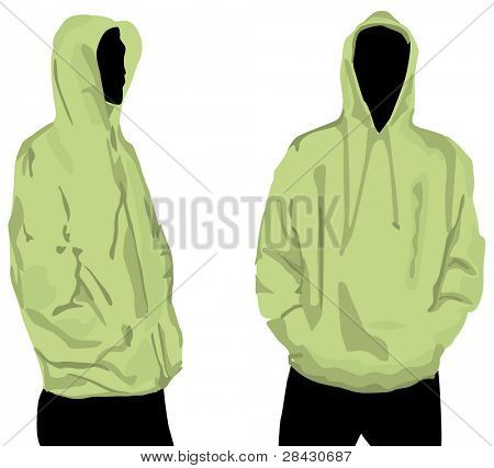 Men's sweatshirt template with human body silhouette