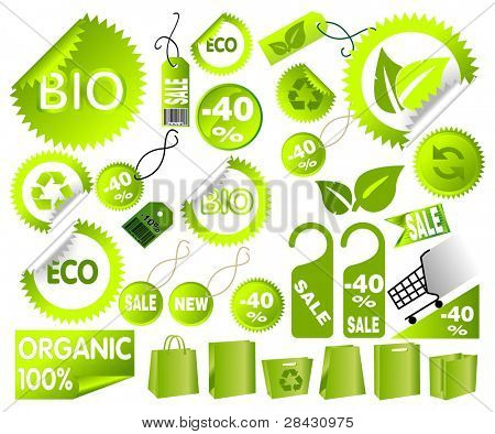 Big Set of green environmental icons, vector art