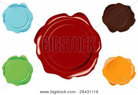 5 color wax seal on white background