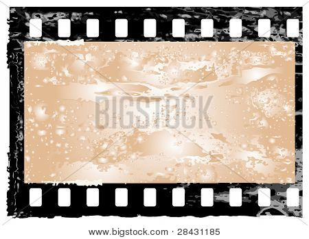 Aged vector illustration of a grunge filmstrip frame.