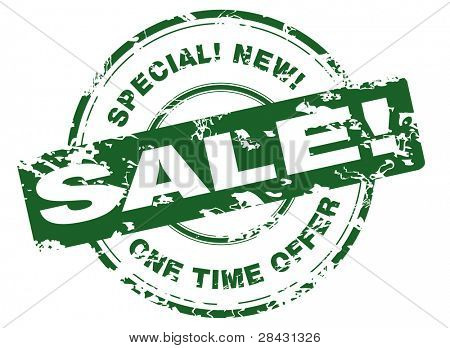 Green rubber stamp to be used as a promotional offer