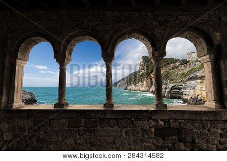 poster of Coastline And The Mediterranean Sea. Church Of San Pietro (1198) In Portovenere (unesco World Herita
