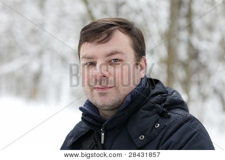 Man Posing In Winter