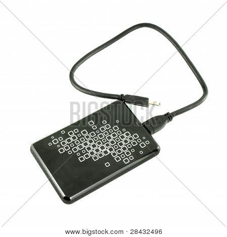 Portable External Hdd Hard Disk Drive With Usb Cable On White Background
