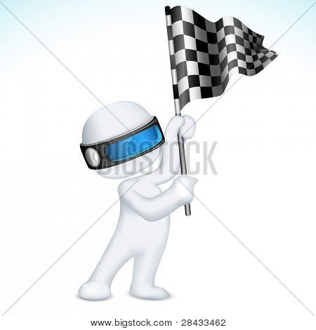 illustration of 3d man in vector fully scalable holding racing flag