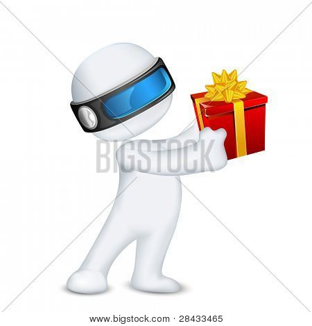 illustration of 3d man in vector fully scalable standing with gift box