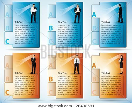 Six tabbed templates of files with an illustration of diverse business people on the front