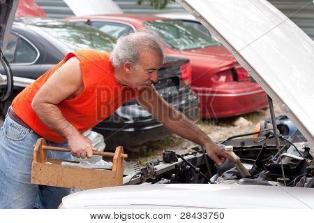 Man Junk Yard Hunting