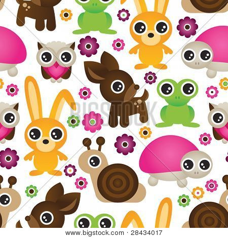 seamless set animal kids pattern background in vector