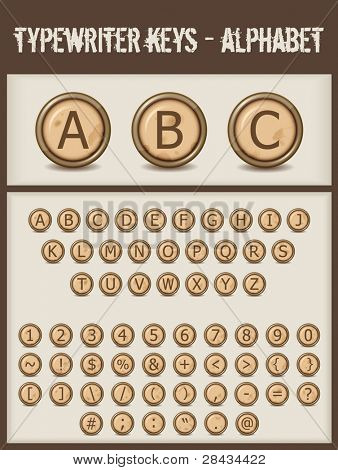 typewriter keys- alphabet- brown