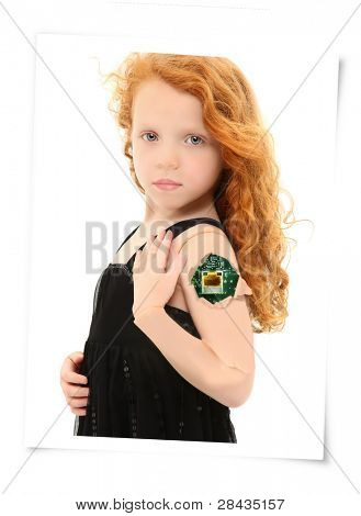 Circuit board showing through crack in cyborg child arm over white background.