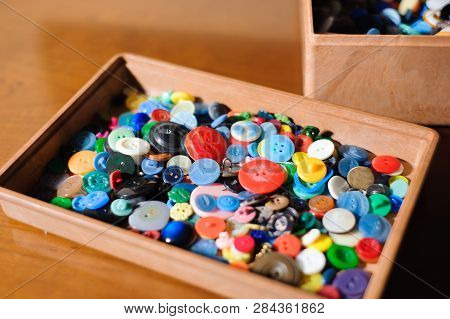 poster of Sewing Buttons, Plastic Buttons, Colorful Buttons Close Up
