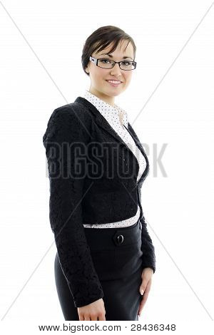 Smiling Business Woman In Glasses Isolated On White Background