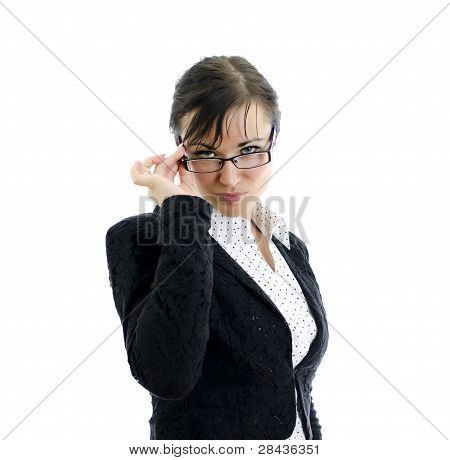 Business Woman With Spectacles Isolated On White