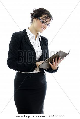 Business Woman In Glasses And Notepad Isolated On White