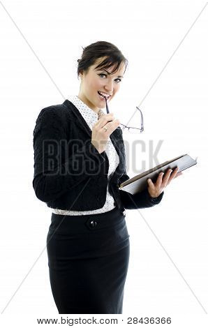 Business Woman With Glasses And Notepad Isolated On White
