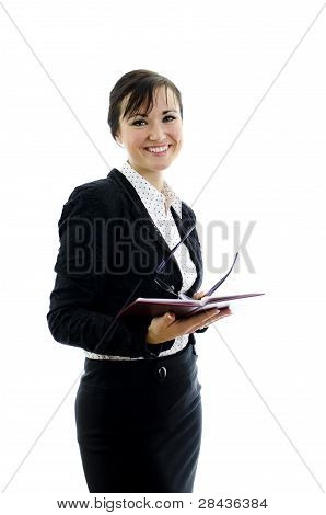 Business Woman With Glasses And Notepad