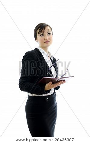 Business Woman With Glasses And Notepad Thinking,