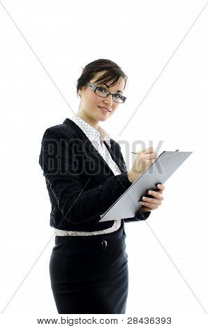Business Woman In Glasses And Notepad