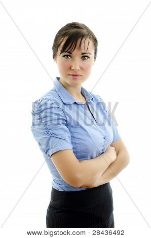 Business Woman In Blue Blouse With Crossed Arms, Isolated On White